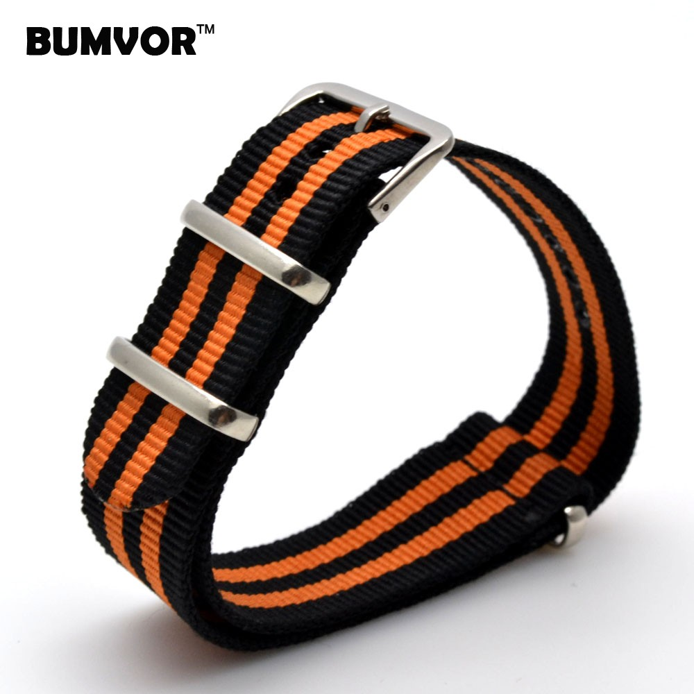 Wholesale 22 Mm Multi Color Black Orange Army Sports Nato Fabric Nylon Watchbands Watch Strap Accessories Bands Buckle Belt 22mm