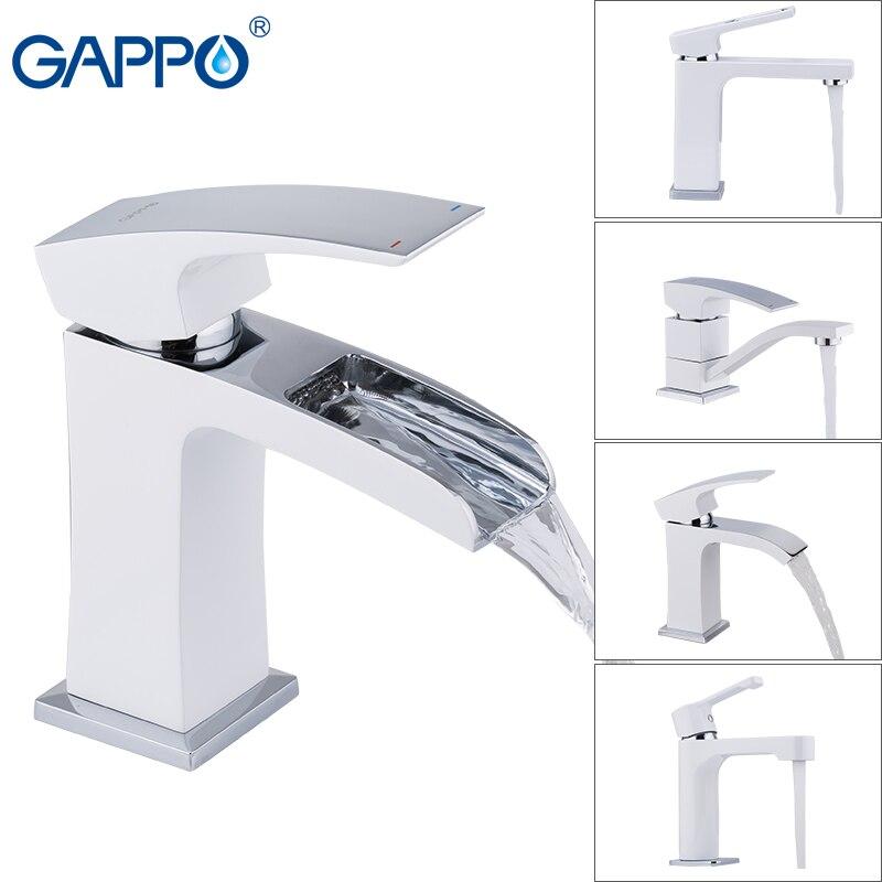 Gappo Смесители для ванной бассейна белый полированный бортике смеситель холодной и горячей одной ручкой для ванной воды кран с водопадом лат...
