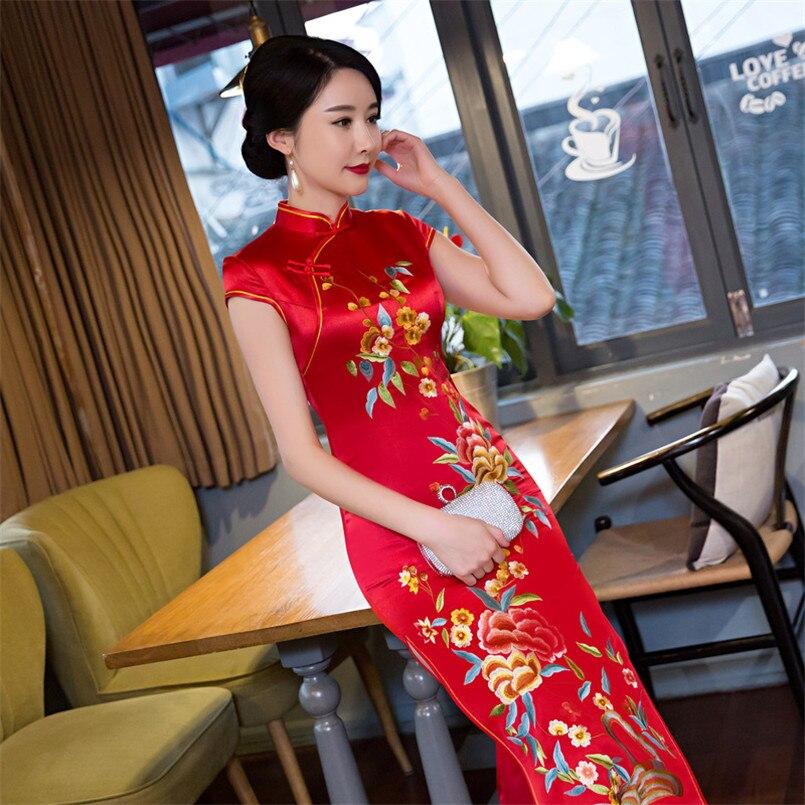 Новое длинное красное платье Чонсам Вышитые невесты тост банкета платье тонкий моды cheongsam халат де mariée