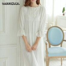 Новые длинные женские пижамы белый дворец в стиле Женское платье оборками пят винтажные Vestidos Сексуальная Ночная Рубашка домашняя одежда размеры S, M, L