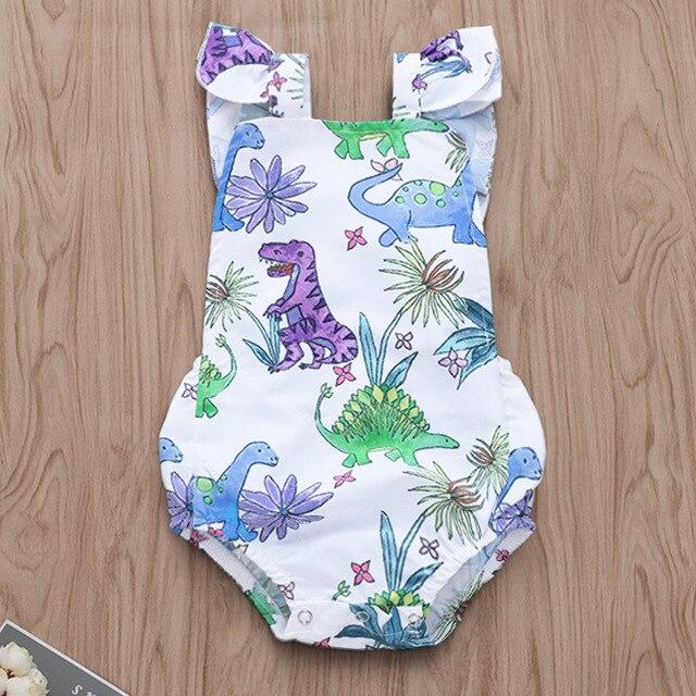 48569824f Infant Onesie Newborn Outfits Cartoon Dinosaur Floral Print Bodysuit ...