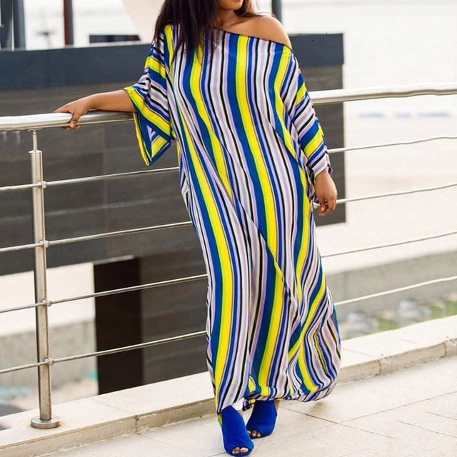 Casual African Plus Size Dress Women Loose Robe Street Color Stripe Summer  Batwing Sleeve Split Big Sizes Maxi Dresses