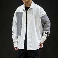 2019 Spring Autumn Fashion Mens thick shirts Cotton Long sleeve Big size 3xl 4xl 5xl Patchwork Letter prints Black White color