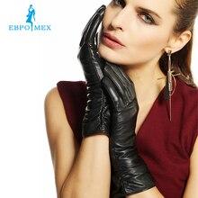 2016кожаные перчатки,Натуральная Кожа, Черный,красный,бежевый, гофрирование дизайнженские кожаныеперчатки, кожаные зимние перчатки, бренд женщинперчатки