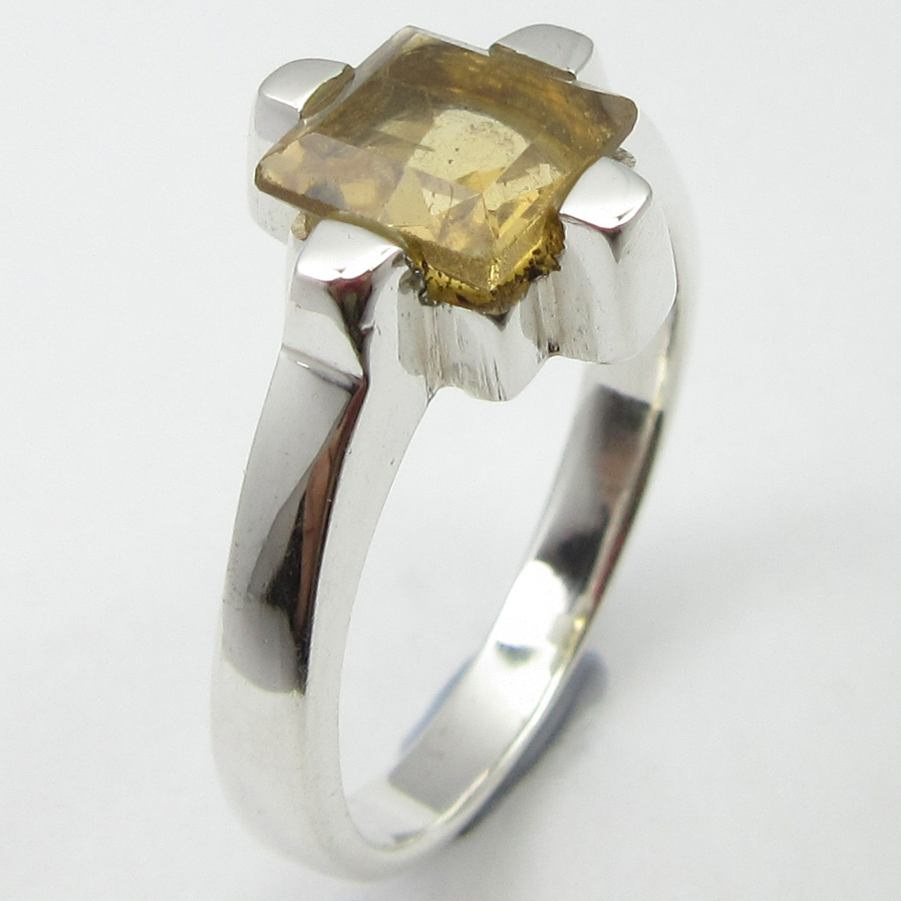 SOLID SILVER Yellow Citrines Stone Ring Size 8.25 ! Birthday Gift