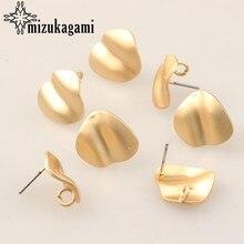 Boucles d'oreilles à clous en alliage de Zinc doré 3D, rondes, accessoires, fabrication de bijoux, bricolage, 6 pièces/lot
