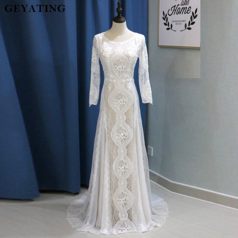 Vintage Dentelle Bohème Robe de Mariée Sirène Manches Longues Dos Nu Plage D'été Boho Robes de Mariée 2018 robe de novia trompeta