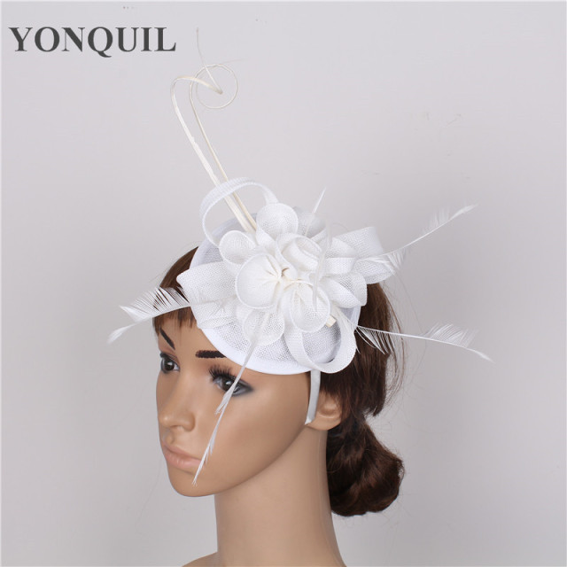 8364efff9e8d1 imitation sinamay fascinator hats white cocktail hat bridal wedding headwear  beauty Derby hair accessories NEW ARRIVAL 17 colors