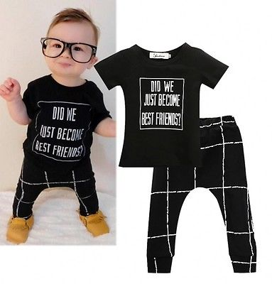 c4e2f35a8d14e Letters T shirt + Plaid Pant Baby Boys Clothes Sets Fashion Infant Kids  Bbay Boys Top Shirt +Pants Outfits 2PCS Set 0 24M-in Clothing Sets from  Mother ...