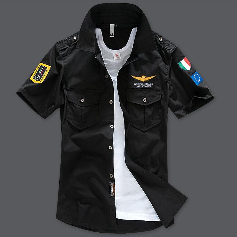 Модная повседневная мужская рубашка, летняя, Air Force One, рубашка с коротким рукавом, хлопковые рубашки, плюс размер, Азия, WA795 - Цвет: black