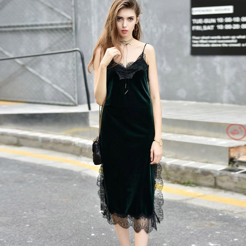 Robe Sexy Lace Backless Velvet Dress Slip Spring Summer Strap Long Evening Party Elegant Deep V Neck Dress Black Femme Vestidos