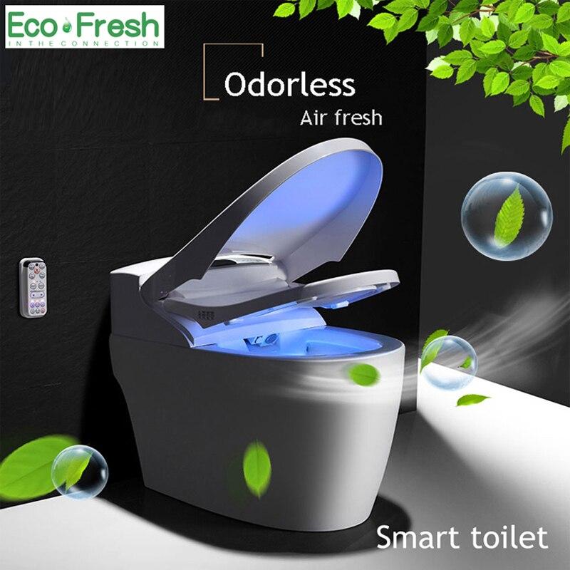 EcoFresh wc toilette intelligente intégré automatique eau instantanée couverture de toilette intelligente lavage massage à sec télécommande