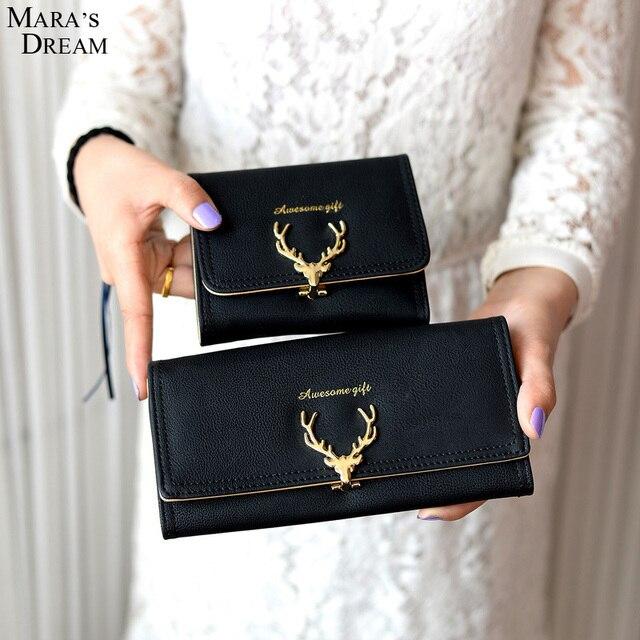 8375e9b751 Mara's Dream 2018 femmes portefeuille en cuir PU dernier noël cerf luxe  porte-monnaie fille