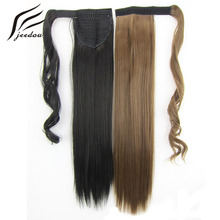 jeedou Straight Synthetic Hair Ponytails 22″ 55cm 90g Brown Blonde Piano Color Wrap Around Ponytail Hair Extensions Hairpieces