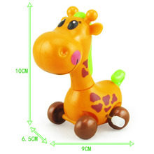 Купить с кэшбэком Wind Up Toys Giraffe Running Car Crawling Kids fun Jumping pull Gift Cartoon Animal Back Clockwork Classic Cute Baby Toys Infant