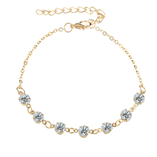 Summer Vintage Fashion Crystal Anklets For Women Link Chin Bohemian Gold Silver Color Shoe Boot Chain Bracelet Foot vintage pure color layered link chain women s boot jewelry
