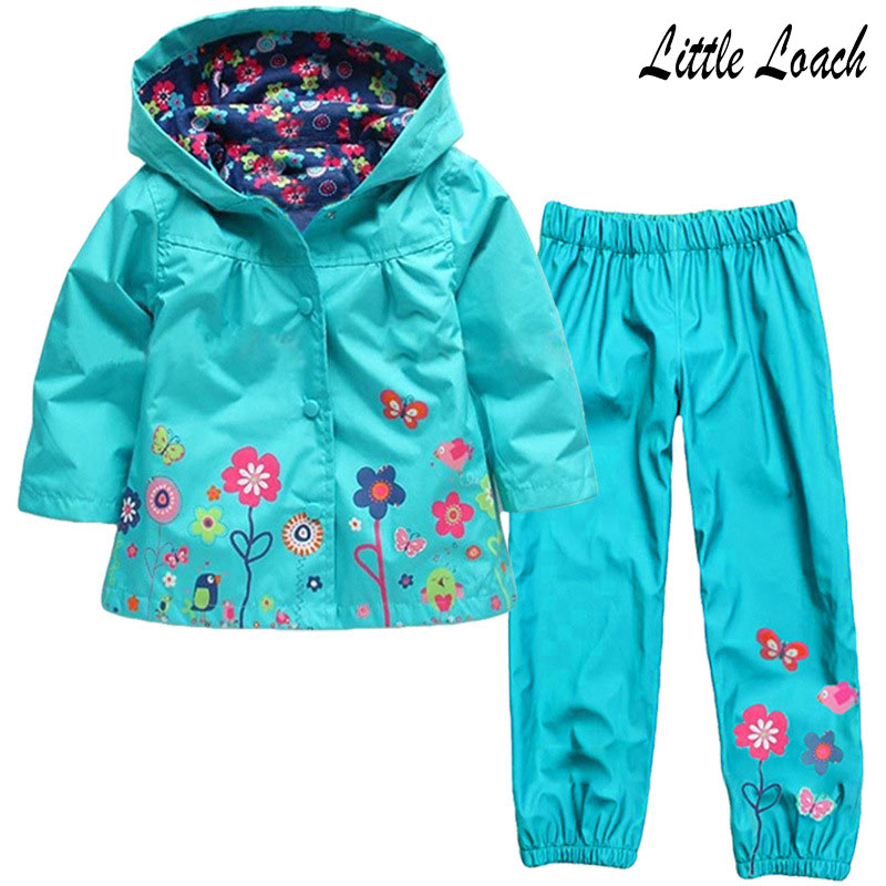 2-6Years Children Clothing Suits Spring Autumn Flower Girls Lovely Hooded Coat Raincoat +Pants Windbreaker 2pcs Clothes Sets 2017 girls spring flowers suit girls clothes sprot hoodies set children clothing suits hooded jackets pants 2pc suits yl561
