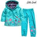 2-6Years Crianças Roupas Ternos Primavera Outono Flor Meninas Encantadoras Blusão Casaco Com Capuz Capa de Chuva + Calças 2 pcs Roupas Conjuntos