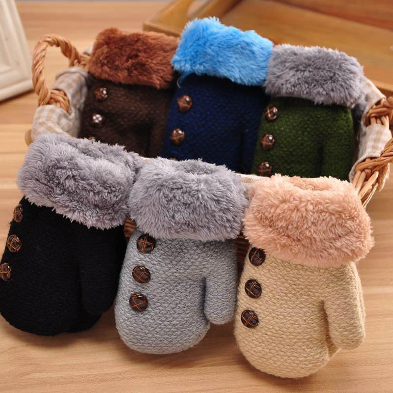 Winter Baby Boy girl gloves knitted Cotton kids full finger mittens Leaf Warm rope children solid Acrylic fibres toddler gloves все цены