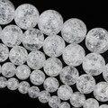 Xinyao 1 strand cuentas de piedras naturales nieve blanca agrietado cristal de cuarzo cuentas 6/10/12/14mm perlas spacer bricolaje de joyas f2150
