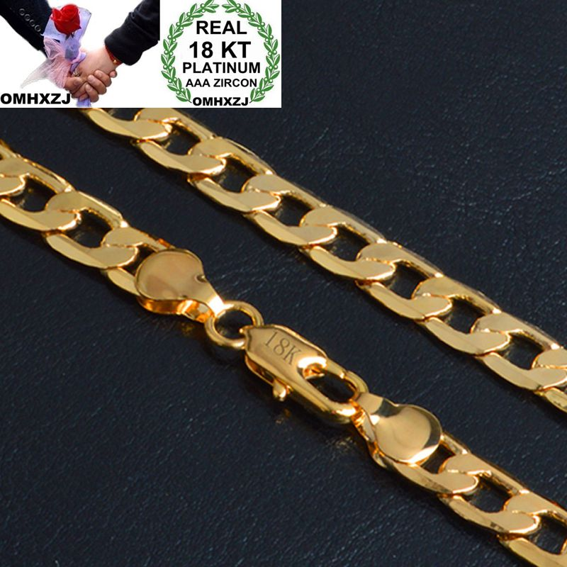 OMHXZJ Wholesale Personality Fashion OL Woman Girl Party Wedding Gift Gold 8MM Figaro Chain 18KT Gold Chain Necklace NC151