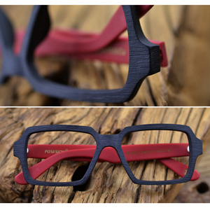 Image 5 - Square Wooden Glasses Men Woman Transparent Lens Brand Design Handmade Eyeglasses Male Vintage Style Acetate Top Quality S307