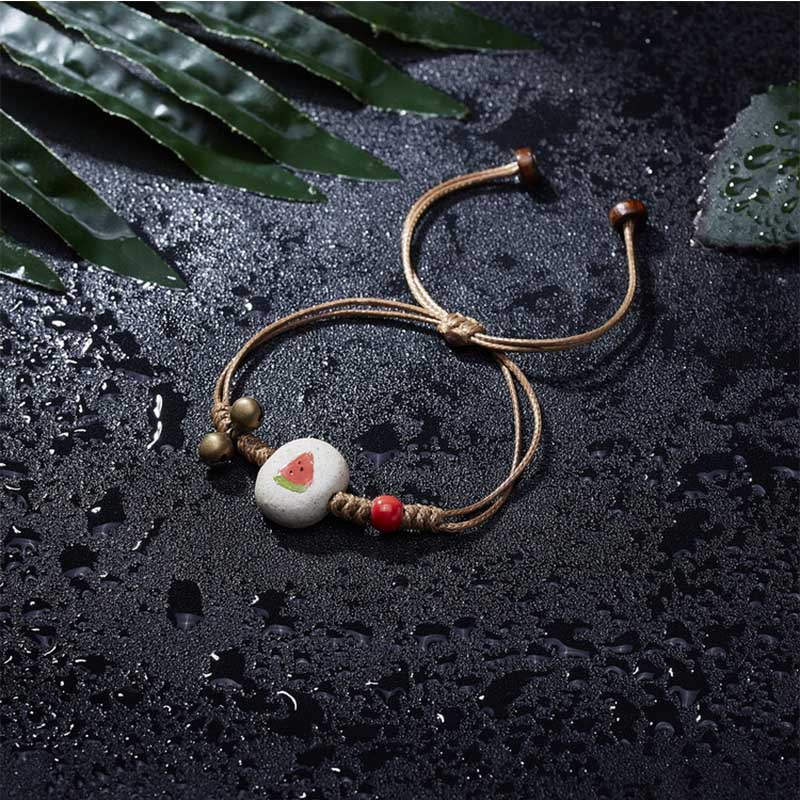 New Fashion cute Ceramic Bracelet Creative Fruit Bracelet Stone Bell Handmade painting Bracelet Gift Strawberry Cherry Sunflower in Charm Bracelets from Jewelry Accessories
