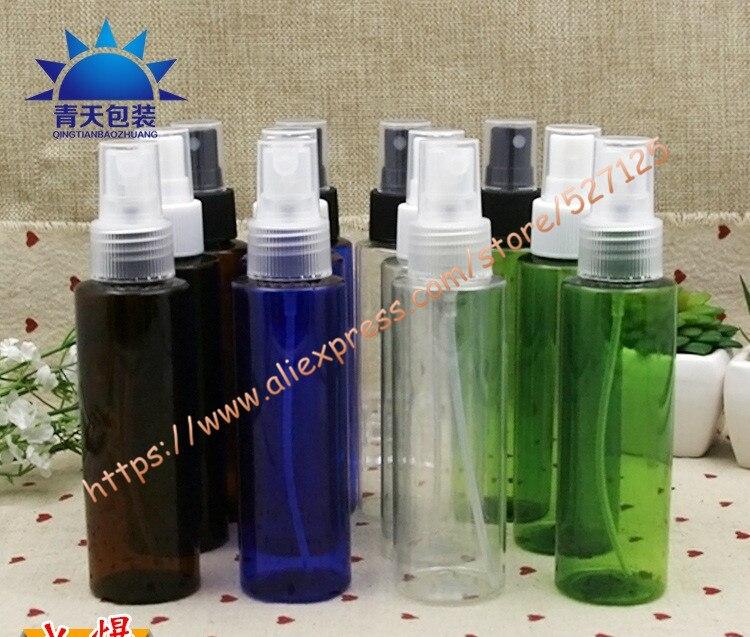 100ml clear blue brown green PET bottle with clear white black plastic sprayer mist bottle travel