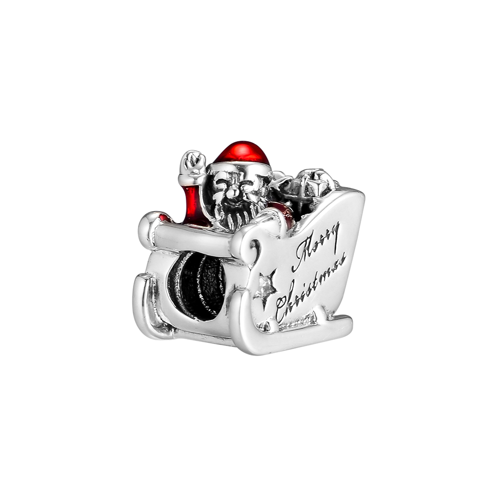 Dependable Fits Pandora Charms Bracelets Sleighing Santa Charm Beads With Translucent Red Enamel 925 Sterling-silver-jewelry Fl485