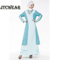 JTCWEAR Women Long Sleeve Embroidery Cuff Muslim Dress Lady Long Abaya Jalabiya Islamic Lady Robe Patchwork