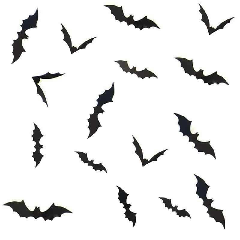 3 Sets 12pcs Set Removable 3d Bat Stickers Wall Window Stickers