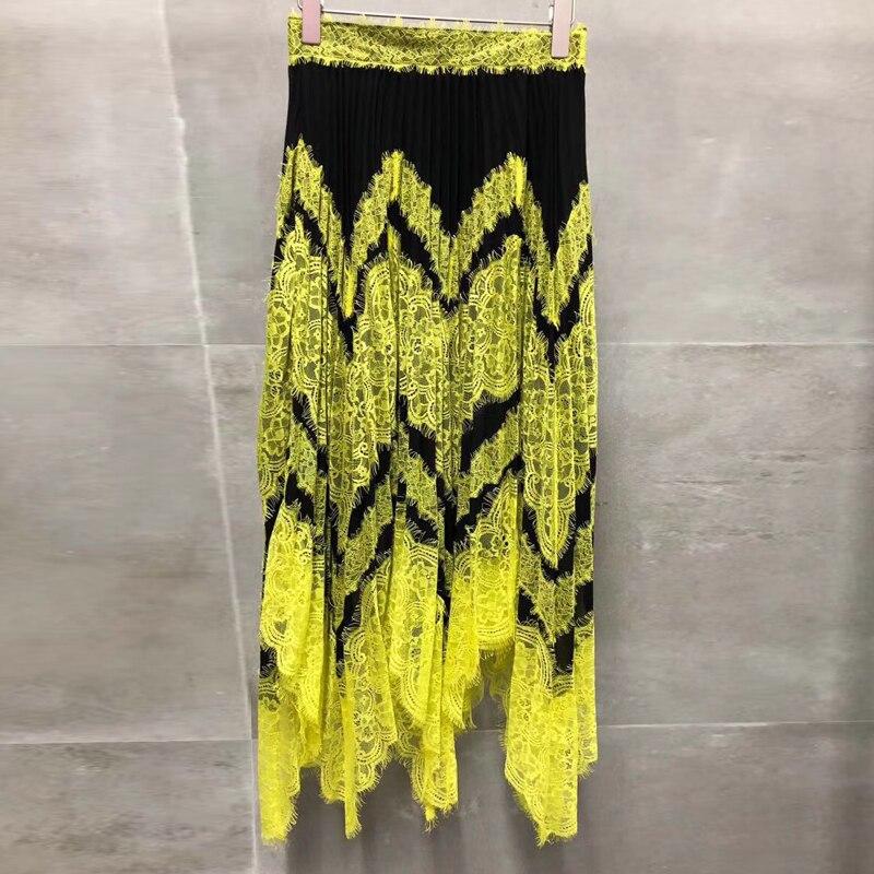 A Mode Style Nouvelles Femmes D'été Jupes Élégant Jupe ligne Lâche Pour Jaune 2019 rqqFwnxSA