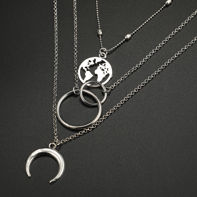 docona Boho Silver World Map Moon Round Pendant Layered Necklace for Women Long Charms Multi Layer Necklaces Collares 6941 8