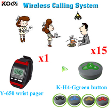 Usług bezprzewodowych kelner pilot zdalnego dzwonek recepcyjny elektroniczny System otrzymać telefon zwrotny od zegarek Bell (1 sztuk zegarek na rękę + 15 sztuk otrzymać telefon zwrotny od brzęczyk dzwon) tanie tanio Ycall Y-650+K-H4-Ggreen Wireless Service Waiter Remote Call Bell System 433 92mhz 300m in open area 60*60*22mm Call Bill Cancel Drink