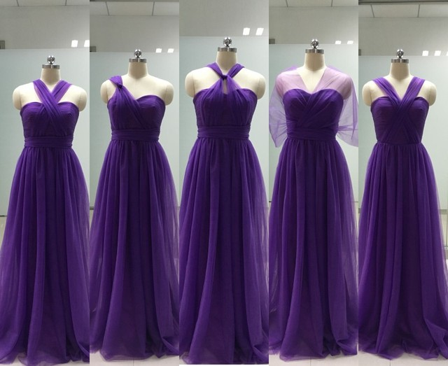 efa1a5a80d5a 2016 Sweetheart Tulle Purple Bridesmaid Dresses Long for Wedding Bridesmaid  Dress Convertible vestido de festa de