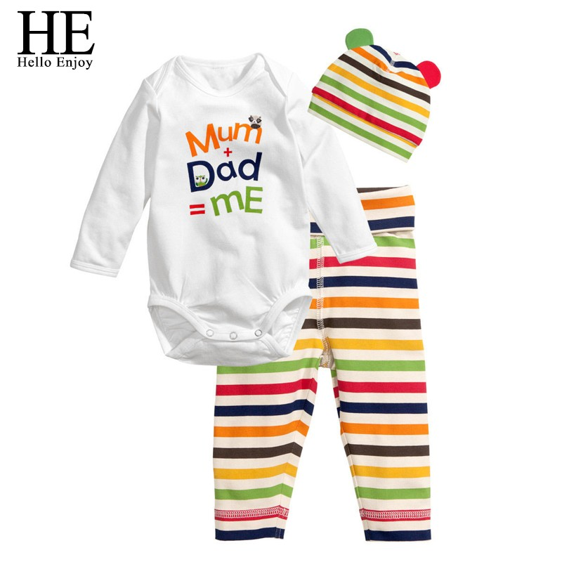 HE Hello Enjoy Baby   rompers   long sleeve cotton baby infant autumn Animal newborn baby clothes   romper  +hat+pants 3pcs clothing set