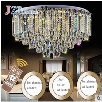 Z Modern New Luxury K9 Crystal Chain LED Ceiling Lamp Lustre Circular LED Chip Light Fixture