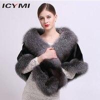 ICYMI импортная вся кожа норковая шуба пальто с лисой меховая отделка натуральный мех для женщин пальто натуральный мех пончо и накидки