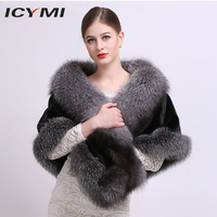 ICYMI Imported Whole Skin Mink Fur Shawls Coat with Fox Fur Trim Natural Genuine Fur for Women Coat Real Fur Ponchos and Capes