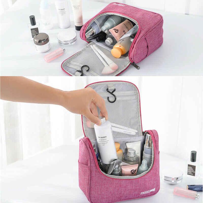 حقيبة مستحضرات تجميل القابلة للحمل السفر طقم مستحضرات التجميل كبيرة أساسيات المنظم للماء