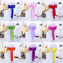 100PCS/Lot  Wedding Decoration Chair Satin Sashes Gold Bow Tie for Hotel Marriage Banquet