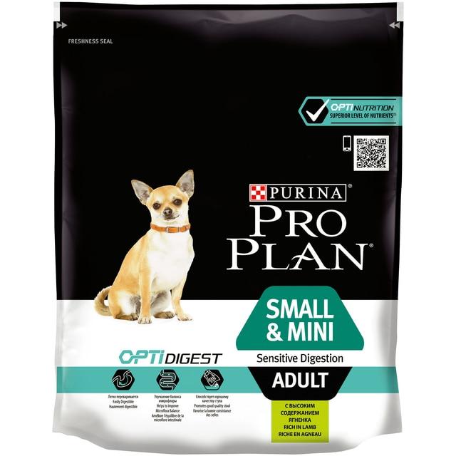 Pro Plan сухой корм для взрослых собак мелких/карликовых пород, чувствительный пищеварение, оптический комплекс, ягненок и риса, 700 г