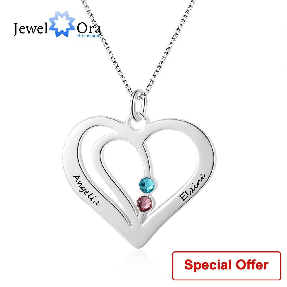 Nombre Collar personalizado nombre grabado corazón de piedra de Plata de Ley 925 en forma de collares y colgantes (JewelOra NE102359)