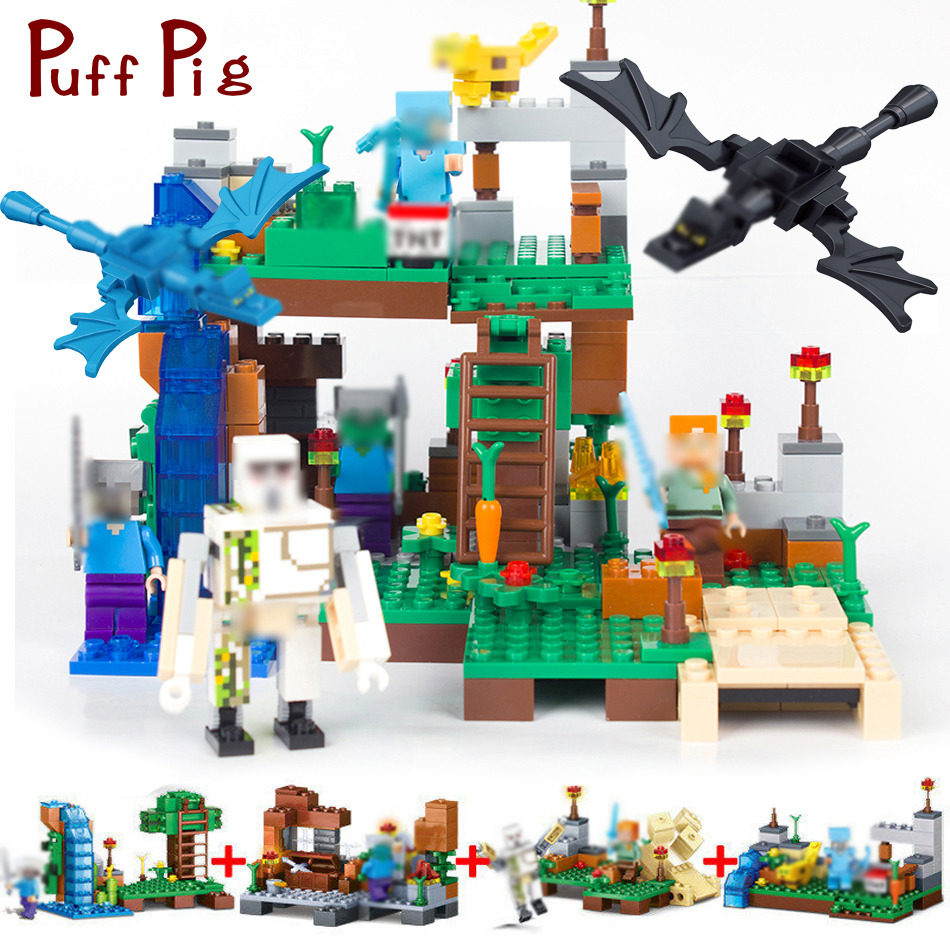 378pcs 4 in 1 MY WORLD Minecrafted City Dragon Figures Building Blocks Bricks Set Compatible Legoed Classic Toys For Children new arrival 378pcs 4 in 1 minecrafted building blocks compatible legoed city figures diy building blocks kit toys kids best gift