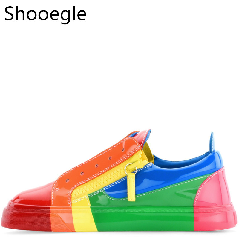 Outdoor Rainbow Retro Color Men Casual Shoes Colorful Patent Leather Flats Thick Bottom Zippers Zapatillas Hombre Shoes
