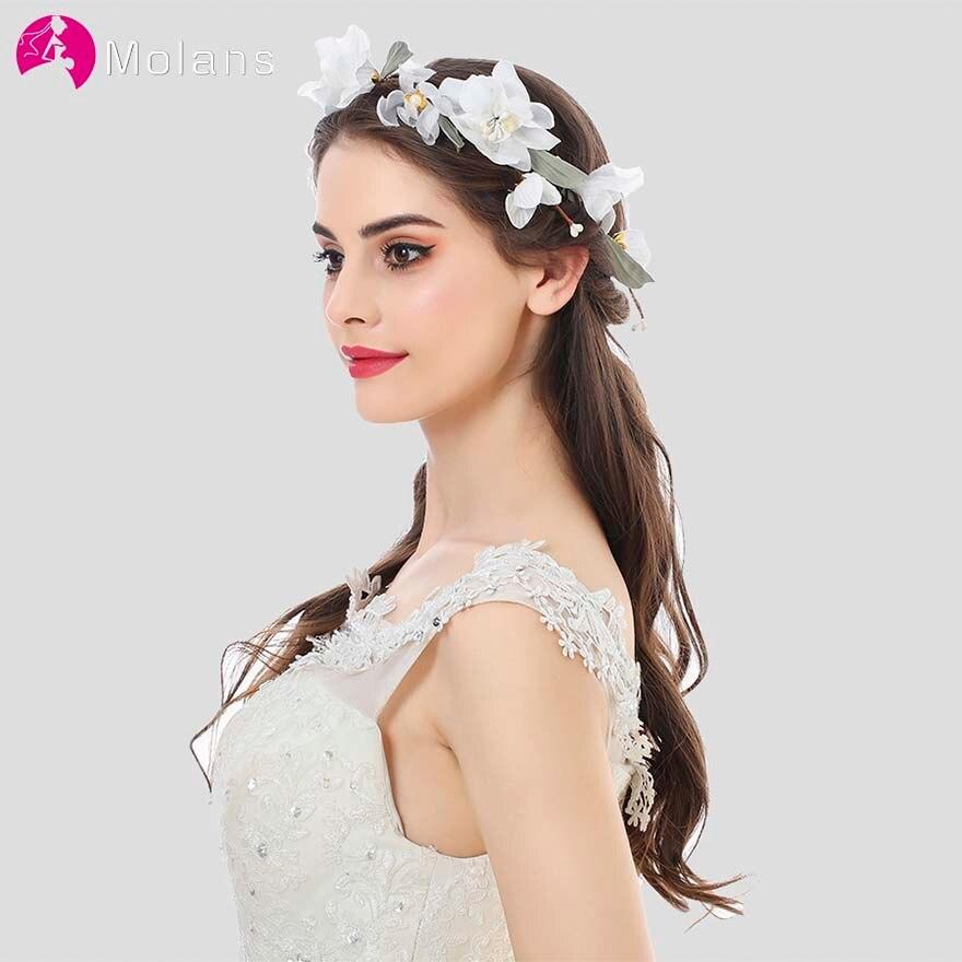 MOLANS Temperament White Yarn Flower Pearl Headbands For Bride Wedding Accessories Stimulation Cloth Mesh Floral Crown For Women
