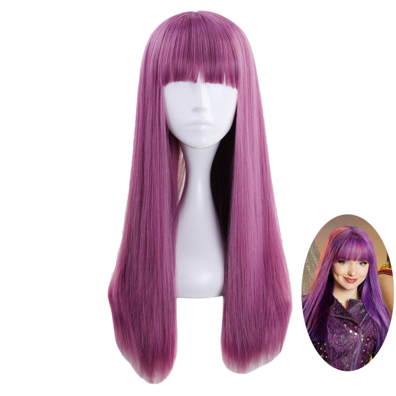 Descendants 2 Mal Purple Mix Wig Cosplay Costume Women Long Straight Heat Resistant Synthetic Hair Party Role Play Wigs