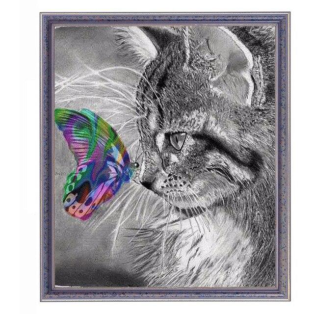 Diamond Painting Cat Animals Butterfly Diamond Paiting Creative