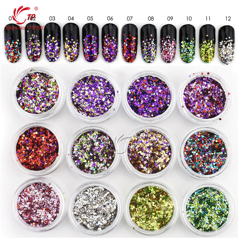 TP 12pcs/lot Mixed Color Mini Round Nail Art Glitter Paillette Shining Manicure Glitter Sequins Nail Decoration nail glitter 1box 1g ab color iridescent flakies star heart round nail art sequins decoration manicure paillette pink silver