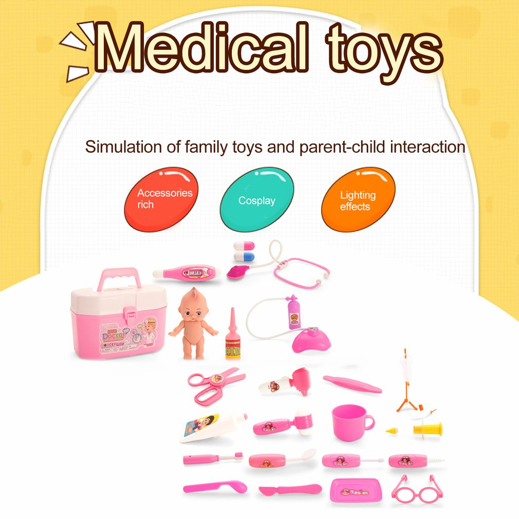 OCDAY Kids Role Play Medical Kit Simulation Hospital Play Doctor Pretend Play Set 24pcs For Child Baby Educational Box Gift Hot